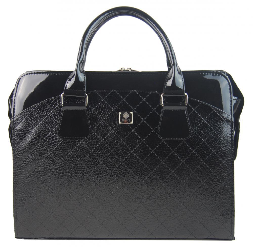 PUNCE Černá dámská taška na notebook v hadím designu do 15.6 palce