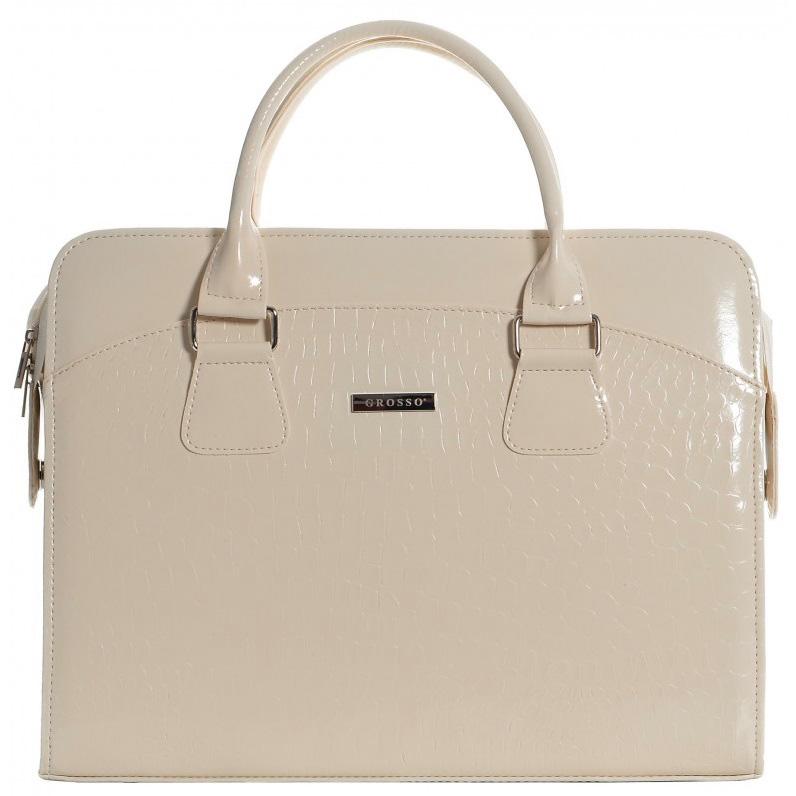 """Dámská elegantní taška na notebook béžový lak ST01 15.6"""" GROSSO"""