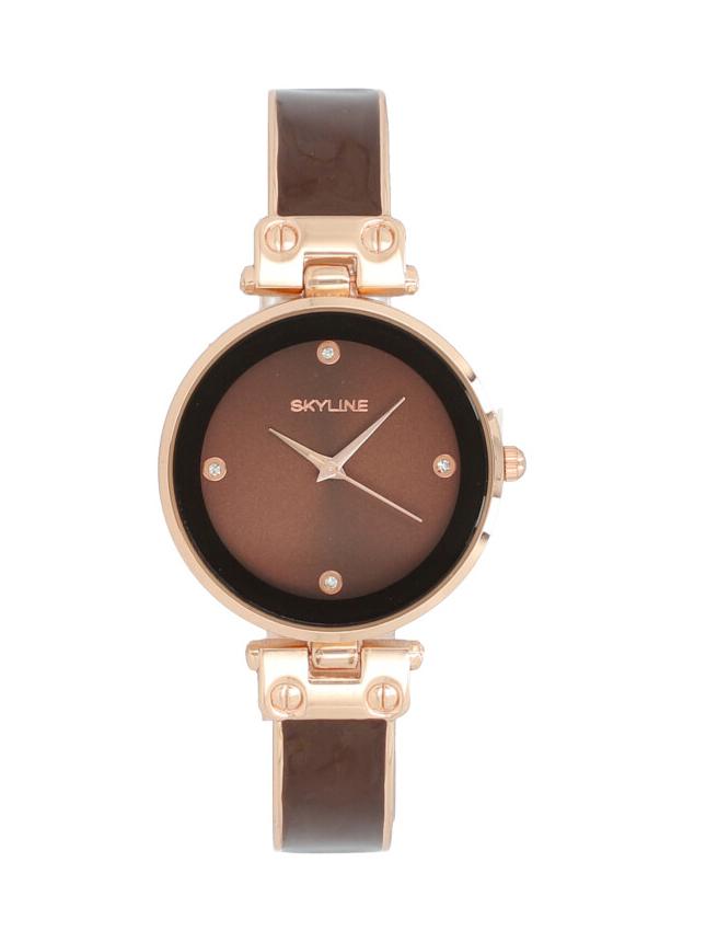 Skyline Náramkové dámské hodinky hnědé růžovo zlaté 9550-4