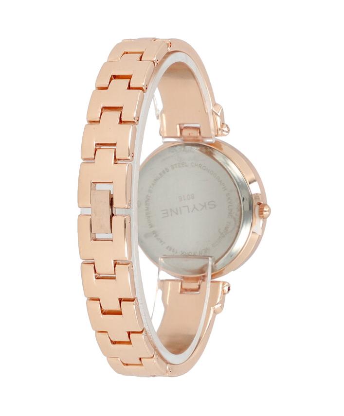 Skyline Náramkové dámske hodinky hnedé ružovo zlaté 9550-4