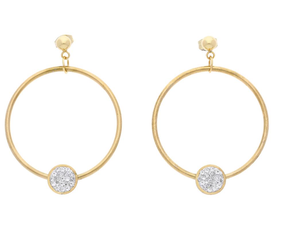 Dámske kruhové náušnice zlatá oceľ NP020