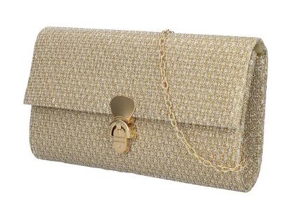Zlatá dámska listová kabelka na retiazke HD831