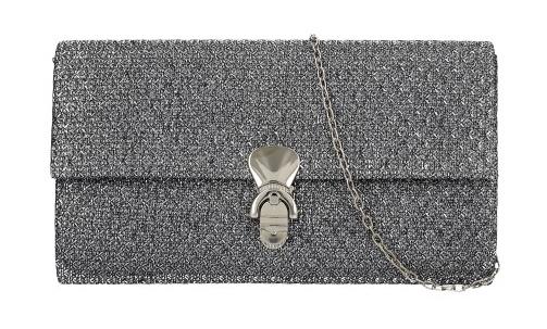 Trblietavá sivá dámska listová kabelka na retiazke HD831