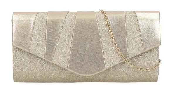 Zlatá dámska listová kabelka na retiazke HD848