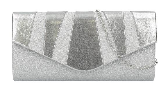 Strieborná dámska listová kabelka na retiazke HD848