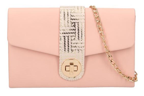 Ružová matná dámska listová kabelka na retiazke so zlatými doplnkami