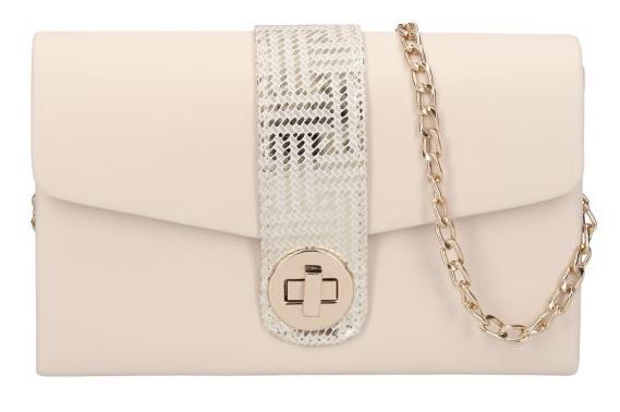 Púdrová matná dámska listová kabelka na retiazke so zlatými doplnkami