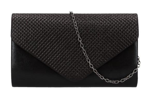 Čierna dámska listová kabelka na retiazke HL3158