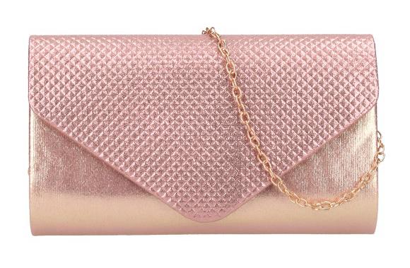 Ružovo-zlatá dámska listová kabelka na retiazke HL3158