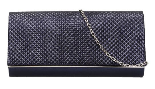 Tmavo modrá dámska listová kabelka na retiazke HL3159