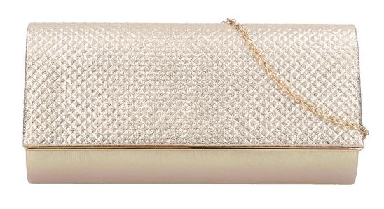 Zlatá dámska listová kabelka na retiazke HL3159