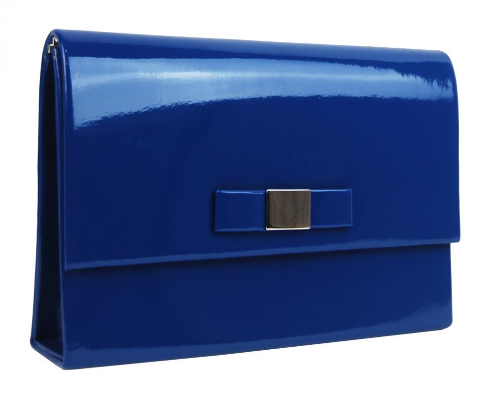 GROSSO luxusní modré dámské lakované psaníčko