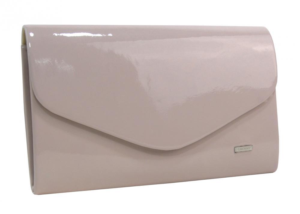 Púdrovo ružová lakovaná spoločenská listová kabelka SP102 GROSSO