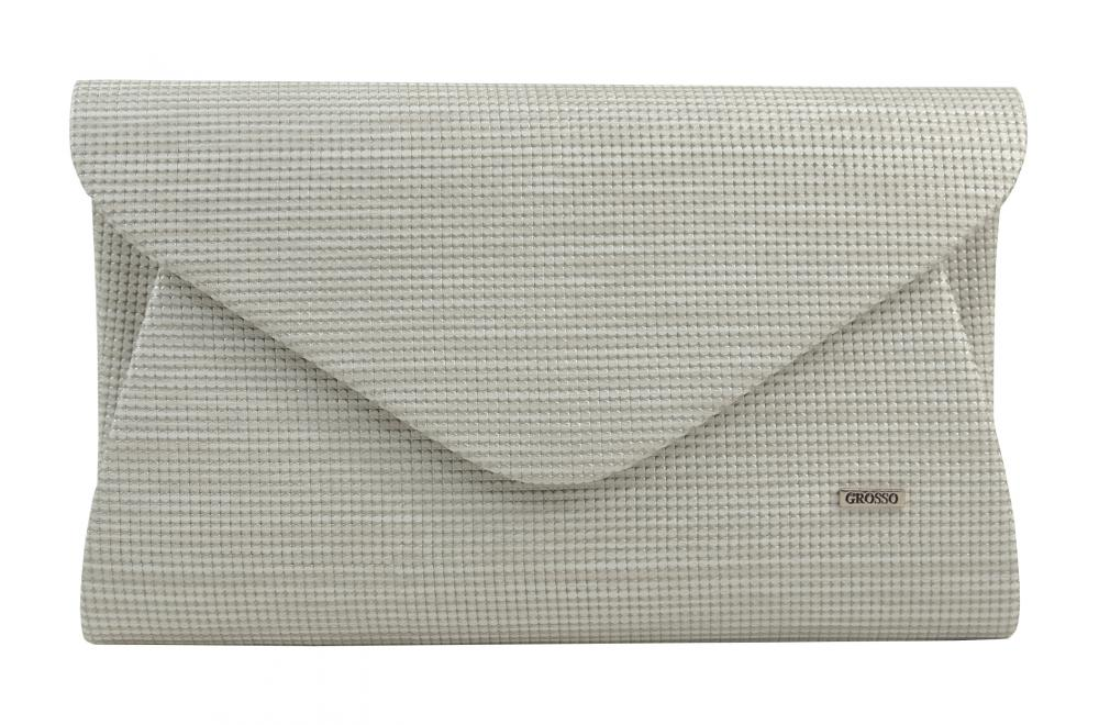 Luxusní krémové dámské psaníčko se stříbrným nádechem SP126 GROSSO