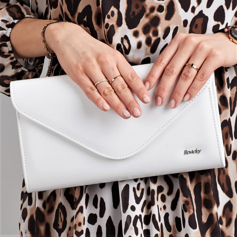 Biela lakovaná dámska listová kabelka W25 ROVICKY