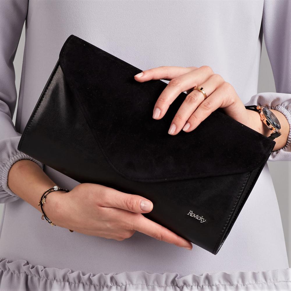 Černé dámské psaníčko se semišovou klopou W25 ROVICKY