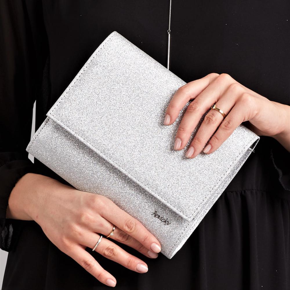 Strieborná dámska listová kabelka W49 ROVICKY