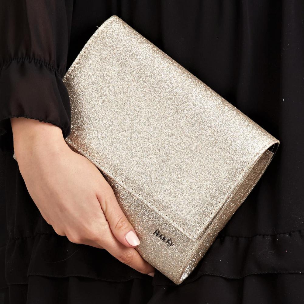 Zlatá dámska listová kabelka W49 ROVICKY