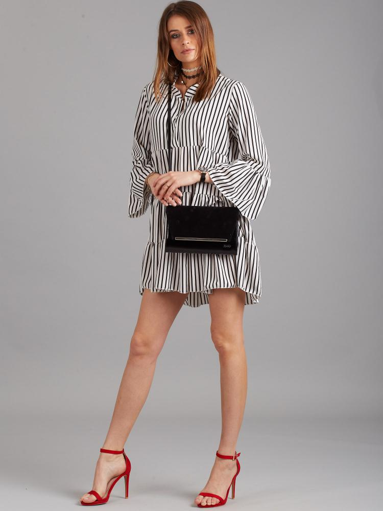 Čierna luxusná dámska listová kabelka W52 hladý lak ROVICKY