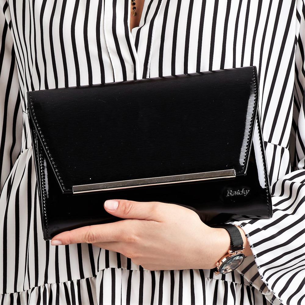 Čierna lakovaná luxusná dámska listová kabelka W52 ROVICKY