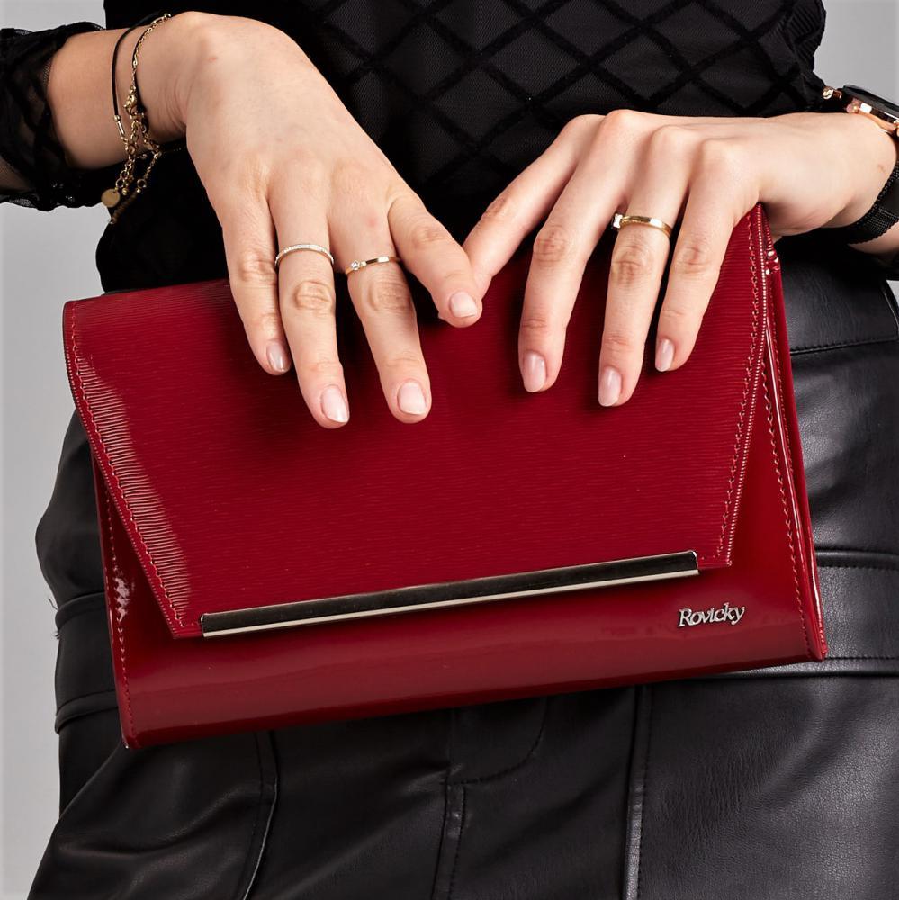 Bordová lakovaná luxusná dámska listová kabelka W52 ROVICKY