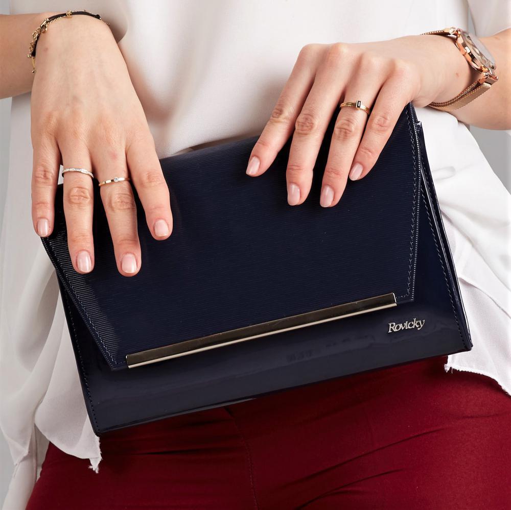 Modrá lakovaná luxusná dámska listová kabelka W52 ROVICKY