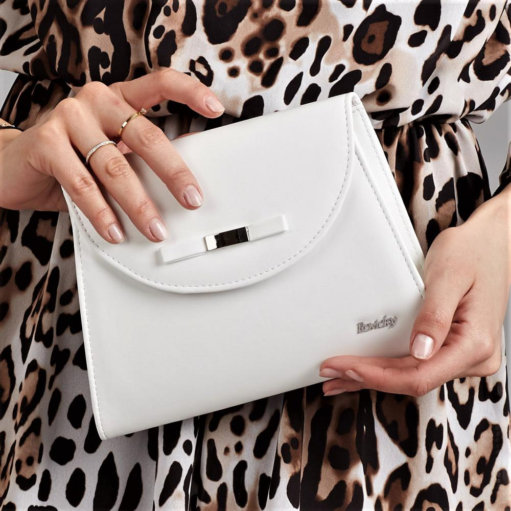 Biela matná dámska listová / crossbody kabelka W54 ROVICKY