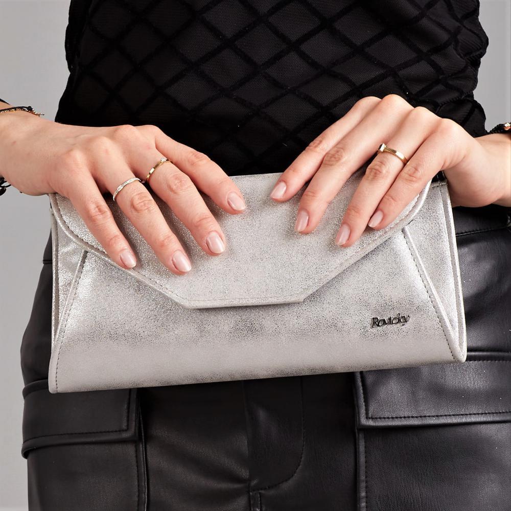 Strieborná dámska listová kabelka W55 ROVICKY