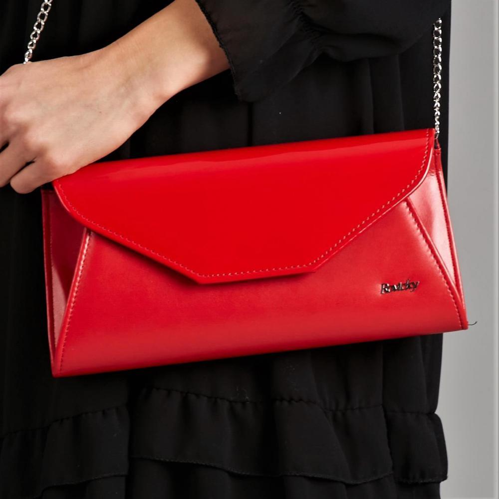 Červená pololakovaná dámska listová kabelka W55 ROVICKY