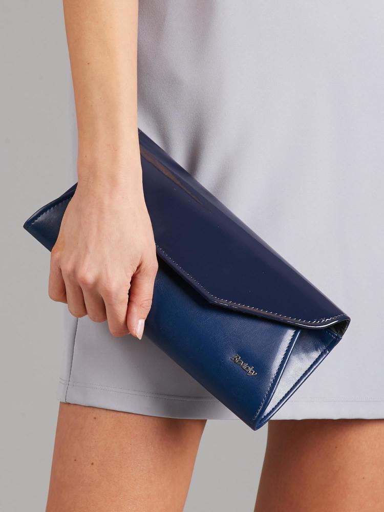Modrá pololakovaná dámska listová kabelka W55 ROVICKY
