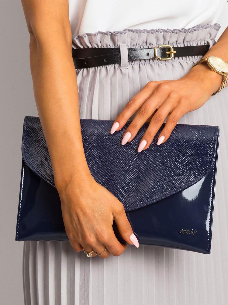 Modrá hadia lakovaná dámska listová kabelka W64 ROVICKY