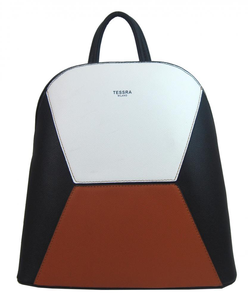 Černo-hnědo-bílý dámský elegantní batůžek 4187-TS