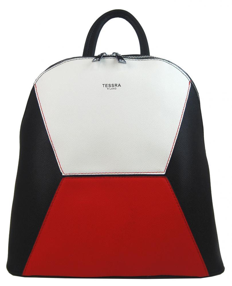Čierno-červeno-biely dámsky elegantný batôžtek 4187-TS