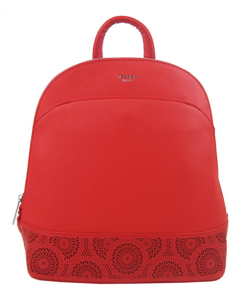 TESSRA 5234-TS Elegantný dámsky batoh / kabelka - Červený