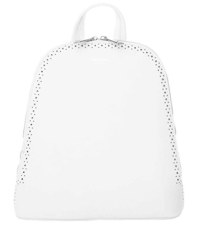 Bílý dámský batůžek / kabelka se dvěma oddíly