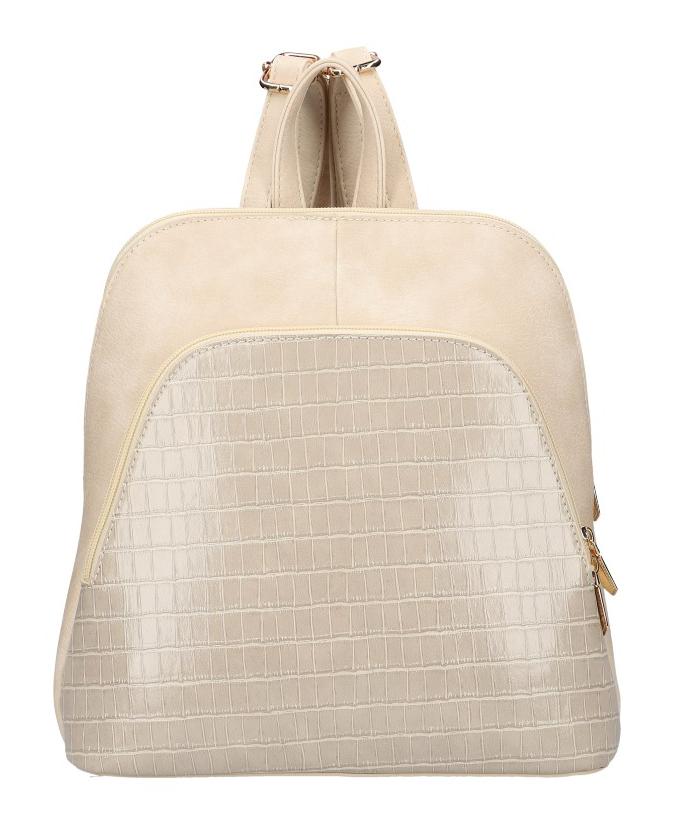 Béžový dámsky módny batôžtek v kroko dizajne AM0106