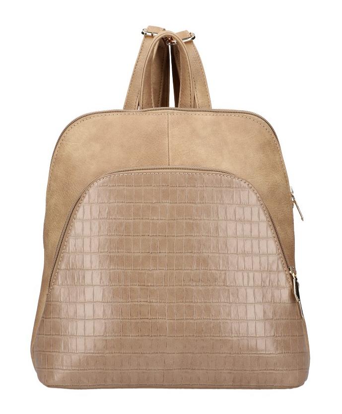 Am Montreux Camel hnědý dámský módní batůžek v kroko designu AM0106