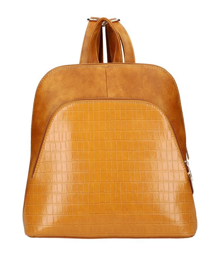 Koňakovo hnedý dámsky módny batôžtek v kroko dizajne AM0106