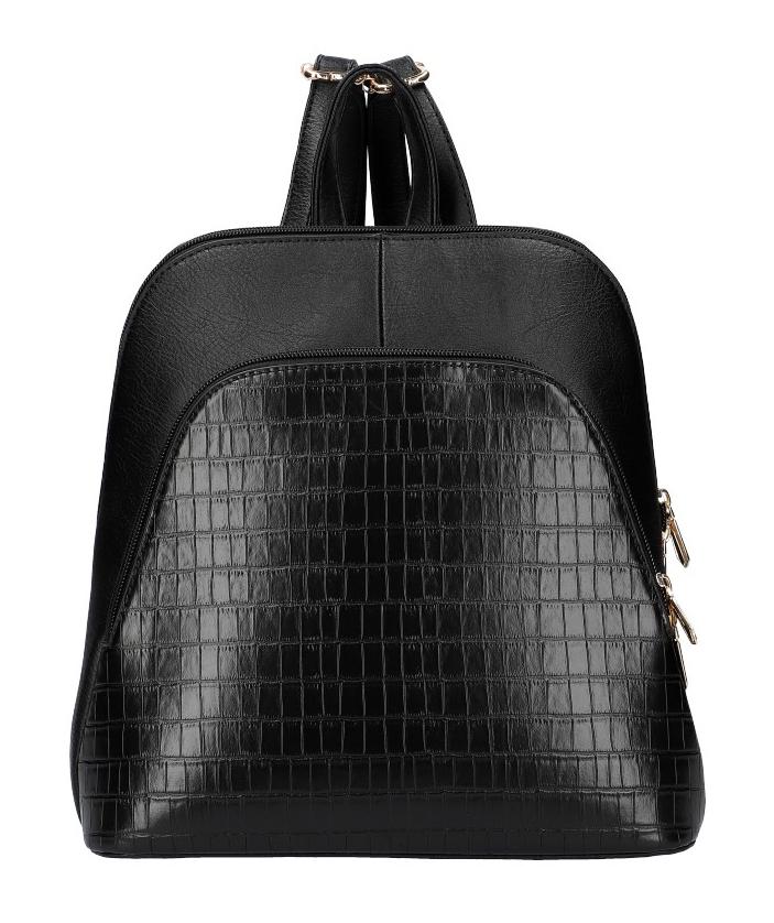 Am Montreux AM0106 Dámsky módny batôžtek v kroko dizajne - Čierny