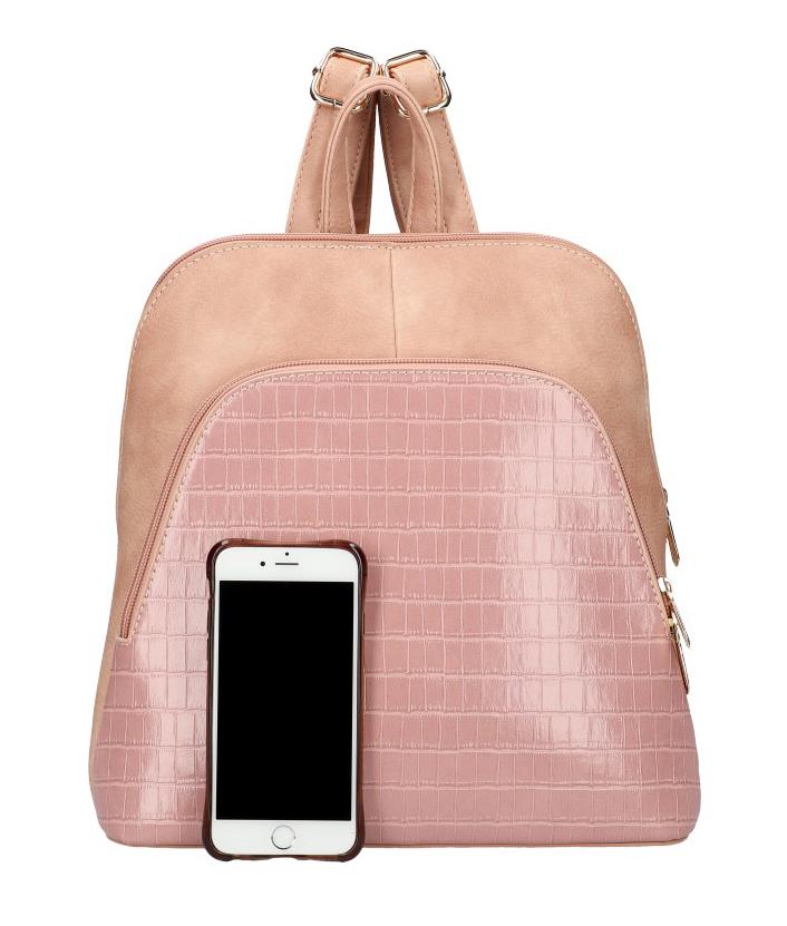 Am Montreux Růžový dámský módní batůžek v kroko designu AM0106