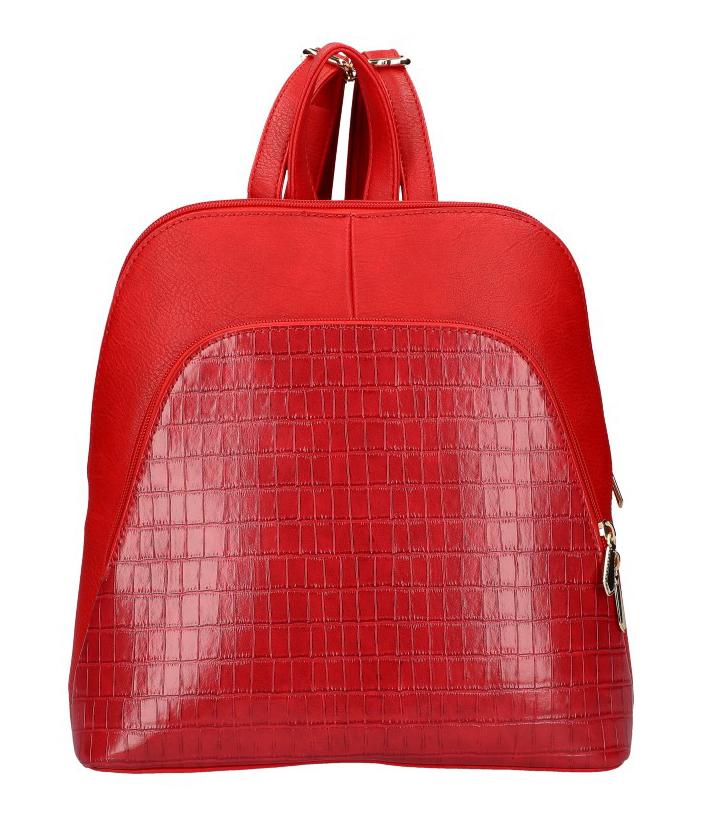Červený dámsky módny batôžtek v kroko dizajne AM0106
