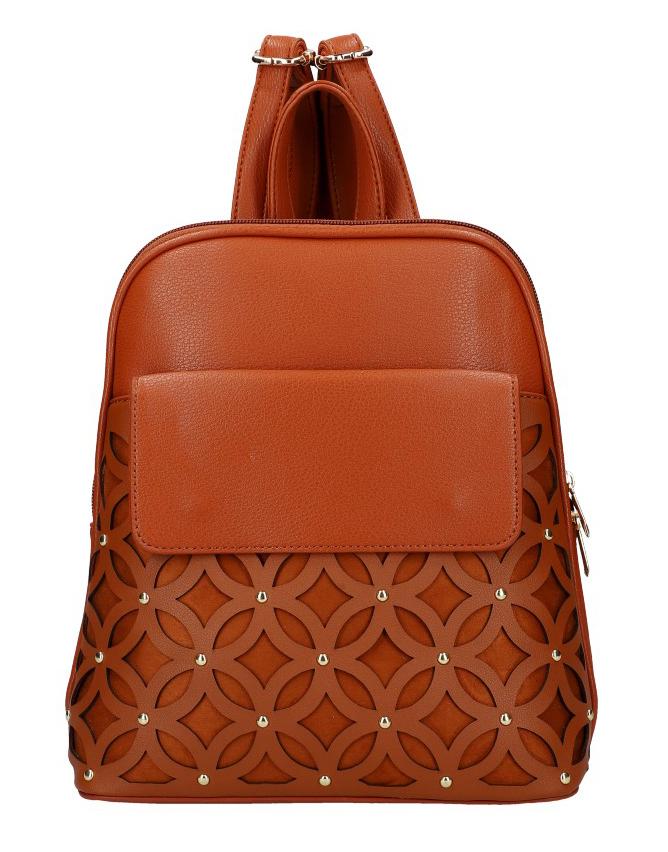 Hnedý dámsky módny batôžtek v perforovanom dizajne AM0109