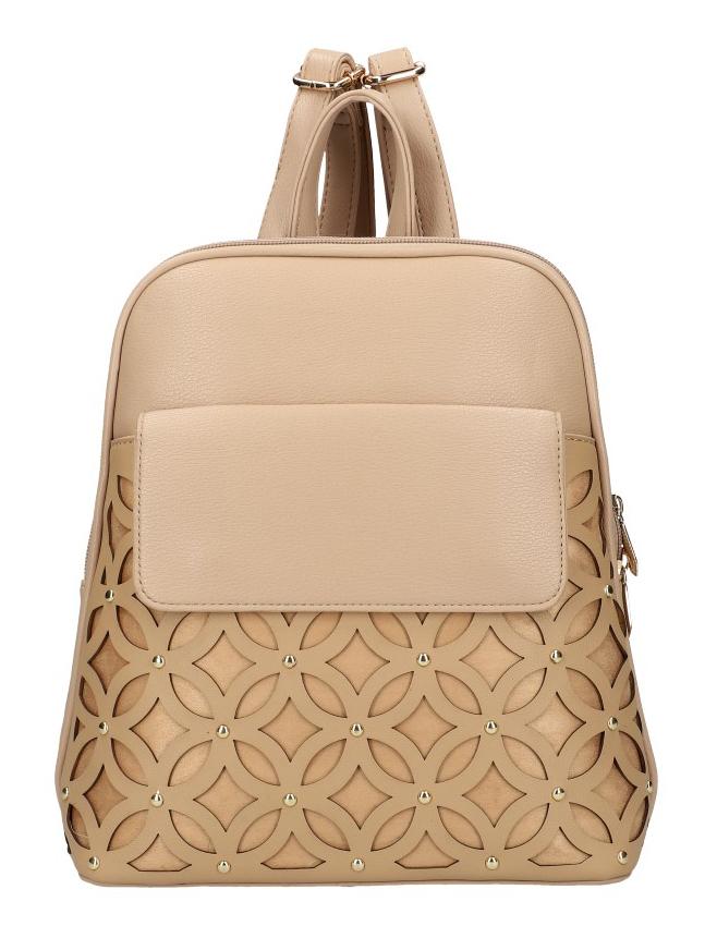 Marhuľovo hnedý dámsky módny batôžtek v perforovanom dizajne AM0109