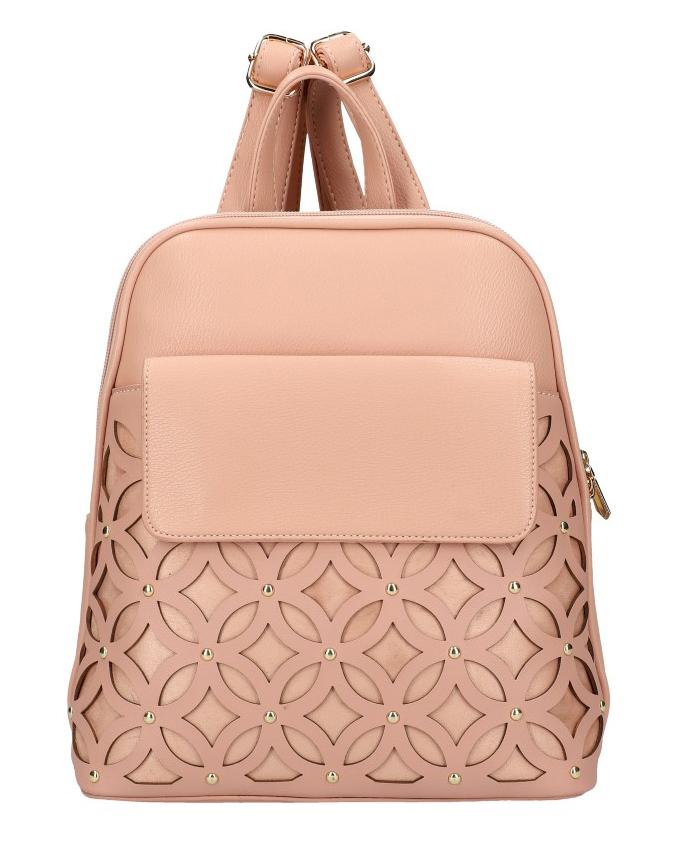 Růžový dámský módní batůžek v perforovaném designu AM0109