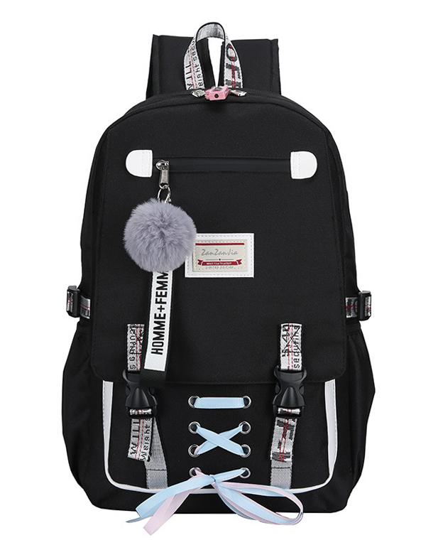 Velký černý studentský designový batoh pro dívky, USB port