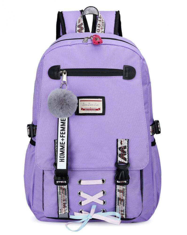 Velký fialový studentský designový batoh pro dívky, USB port