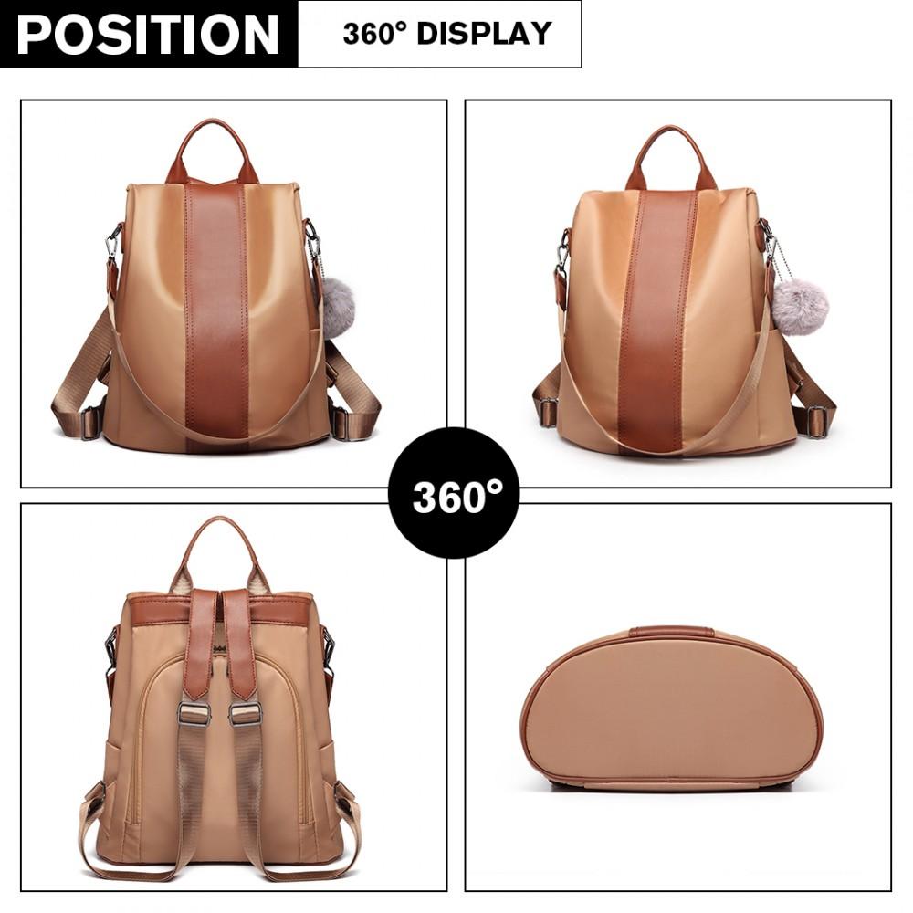 Hnedý dámsky batoh / kabelka cez rameno Miss Lulu