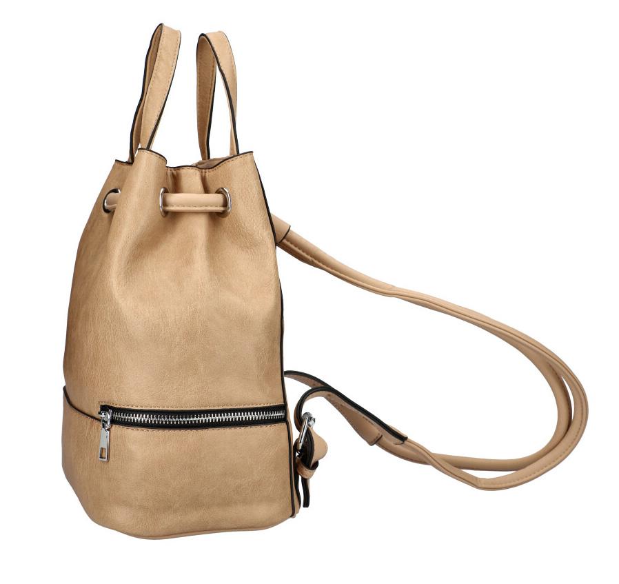 Přírodně hnědý dámský batůžek do ruky i na záda KR827