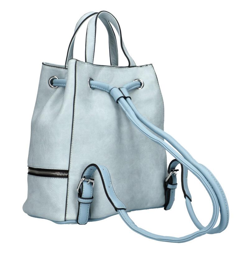 Světle modrý dámský batůžek do ruky i na záda KR827