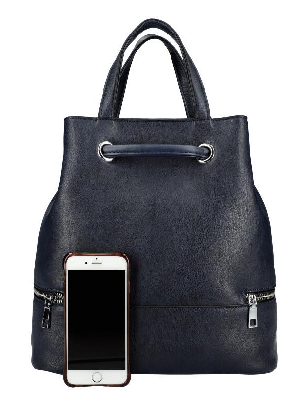 Tmavě modrý dámský batůžek do ruky i na záda KR827